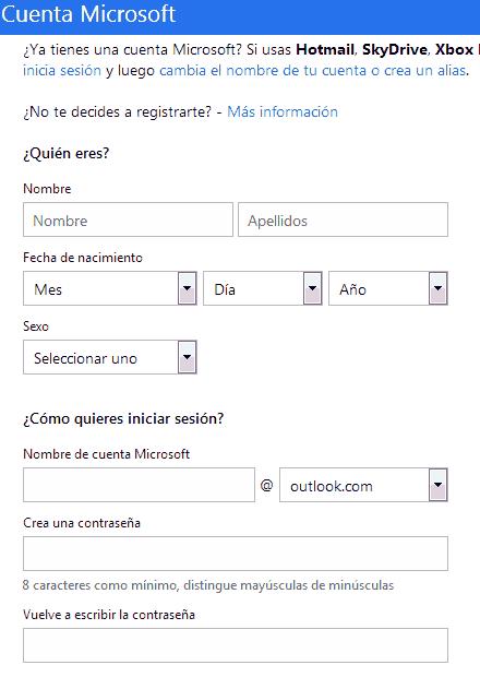 registro hotmail formulario primera parte