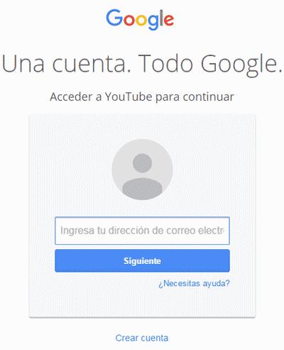 cuenta de Youtube (Google)