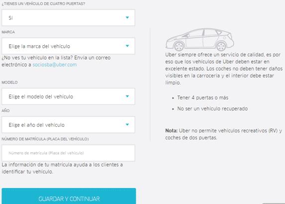 caracteristicas del vehiculo para uber
